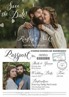 Vintage Wedding Passport Style, Save the Dates! Fully Customized with Your Wedding Details! Travel Theme, Something Blue *Printable Design*