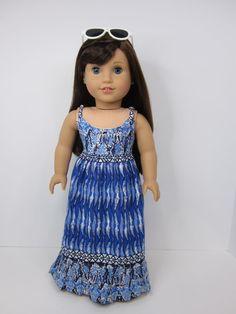 American Girl doll clothes - Dark blue print maxi dress by JazzyDollDuds.