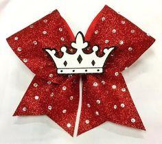 Bows by April - 3D Center Crown Full Glitter Cheer Bow, $25.00 (http://www.bowsbyapril.com/3d-center-crown-full-glitter-cheer-bow/)