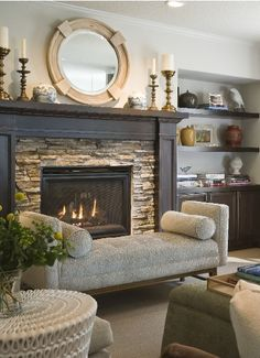 Fireplace surround and stone gorgeous!  Color combo - lovely balance of elements