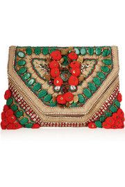 Antik Batik Cuzco embellished embroidered suede clutch