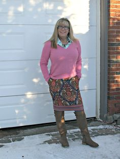 Target Target Paisley skirt with a pink cashmere sweater and kate spade bag #targetfashion #fashionover50 #40plusstyle #ootd