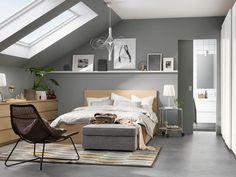 MALM Rám postele, vysoký, s 2 úlož škat, bielo morená dub dyha, cm - IKEA High Bed Frame, Malm Bed Frame, Bed Frames, Ikea Bedroom, Home Bedroom, Bedroom Furniture, Attic Bedroom Decor, Ikea Malm Bed, Bedroom Ideas