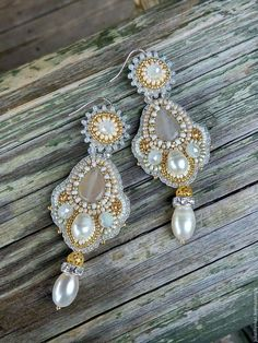 beaded earrings Handmade long for her woman bead embroidery