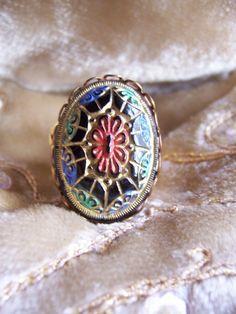 La Boheme - Bohemian glass filigree large antique glass button one size finger ring folkloric by MoodsWingz on Etsy