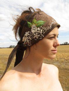 Earth child dreadlock headband Nuno felted in organic by PixeRose