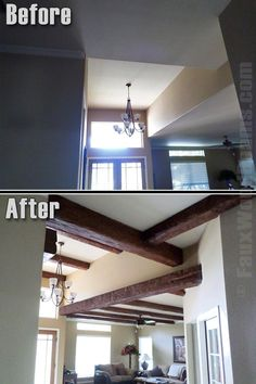 Faux wood beams add warmth to new home construction.  Before and after timber beams are installed.