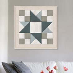 'Quilt Block Friendship Star' Framed Graphic Art Print