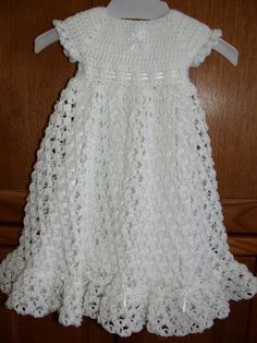 Free Crochet Christening Gown | ... crocheted baby christening dress