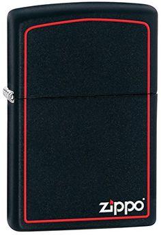 Zippo Black Matte with Border & Logo Lighter – Mechero, color negro mate
