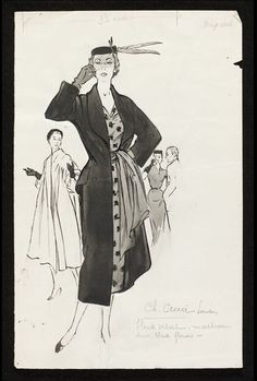 Fashion drawing | Fromenti, Marcel | Charles Creed V&A Search the Collections