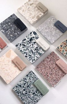 Nood Co. Concrete Basins and Furniture design. Redesign your bathroom in the colour that you crave. Material Board, Material Design, Terrazzo, Küchen Design, House Design, Mood Board Interior, Concrete Basin, Interior Design Presentation, Tiles Texture