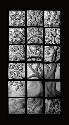 A desaturated image of our Tree of Life.  Handmade, sgraffito-carved ceramic  wall tile by Natalie Blake  #tileart