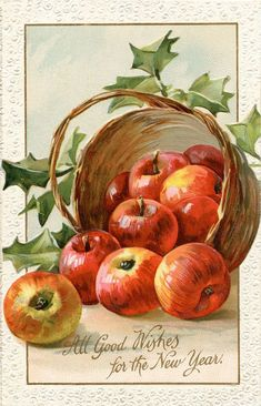 ideas for fruit painting watercolor catherine klein Watercolor Fruit, Fruit Painting, China Painting, Vintage Diy, Vintage Holiday, Vintage Greeting Cards, Vintage Postcards, Vintage Happy New Year, Vintage Year