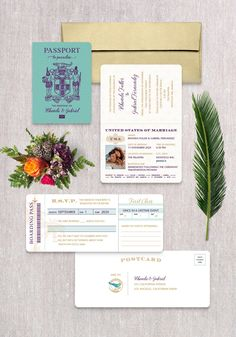 Invite guests to fly away with you on a once in a lifetime adventure! This passport invitation is sure to get your guest excited about your destination wedding. Destination Wedding Save The Dates, Destination Wedding Inspiration, Destination Wedding Invitations, Wedding Stationery, Passport Invitations, Invitation Set, Invite, Jamaica Wedding, Addressing Envelopes