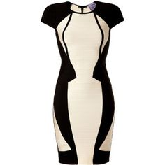HERVÉ LÉGER Black/White Colorblock Bandage Dress