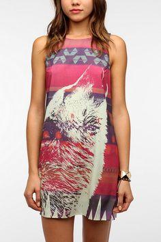 Sparkle & Fade Silky Wolf-Print Dress