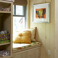 Curl Up - Cottage-Style Details - Southernliving. There are plenty of cozy nooks and corners in the Carolina Jessamine cottage. This window seat in the upstairs loft is just one spot for curling up. Like the rest of the cottage, colors are as bright and cheerful as the surrounding gardens. A butterfly print pays homage to Callaway Gardens' butterfly conservatory―the largest in North America.