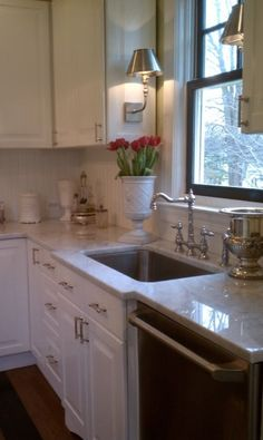 Haute Indoor Couture - kitchens - Benjamin Moore - Snowfall White - white carrara marble, ikea kitchen cabinets,  Ikea Kitchen