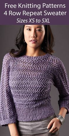 Free Sweater Knitting Pattern 4 Row Dazzling Dolman Sizes XS to 5XL - Lace pullover worked from cuff to cuff with a 4 row repeat. Sizes: XS to 5XL Worsted weight yarn. Designed by Patons.