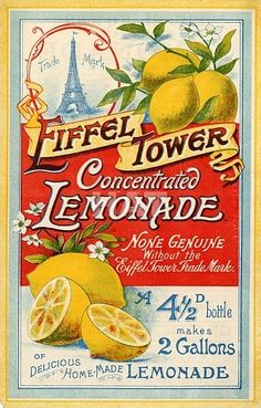 Vintage printables - EIFFEL TOWER-LEMONADE POSTER- click on image- click view- click save as!