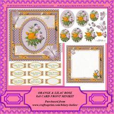 Orange & Lilac Roses 8x8 Card Front Minikit