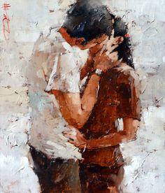 ANDRE KOHN FINE ART; The Kiss Series #18 Oil