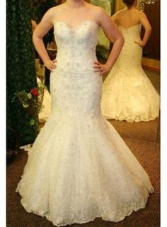 27dress 2013 Plus Size Wedding Dress Lace Beaded Sweetheart Mermaid/Trumpet Open Back White Bridal Gowns WD0223