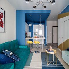 Feltűnő színek és geometrikus minták egy 43m2-es lakásban