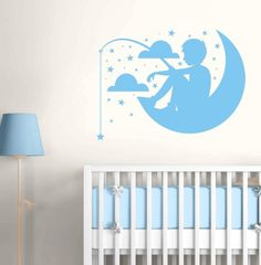 Boy Fishing on the Moon - Stars & Clouds - Wall Decals Stickers Graphics $45