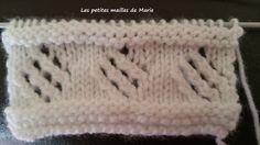 Le point losange ajouré se réalise sur un nombre de mailles multiple de 8 Rang 1 : Toutes les mailles se tricotent à l'endroit Rang 2 :... Knitting Patterns Free, Free Pattern, Le Point, Crochet Hats, Blanket, Crafts, Marie, Initiation, Stitches