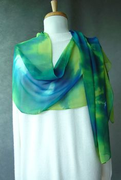 Large Hand Dyed Silk Chiffon Scarf  Blue Emerald and by SheWeaves, $36.00