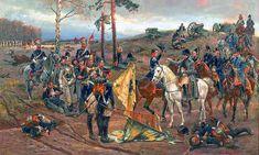 Napoleon decorates general Tadeusza Tyszkiewicza at the battle of Smolensk, 1812 - by Wojciech Kossak