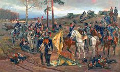 Napoleon decorates general Tadeusza Tyszkiewicza at the battle of Smolensk, 1812 - by Wojciech Kossak