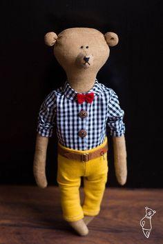 Brummi handmade teddy bear in a bow tie and a plaid shirt - Teddy bear - soft toy bear - coffee toy -