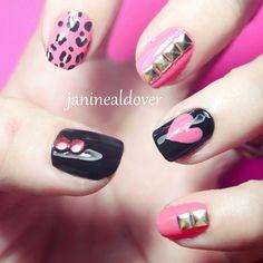 Pink studded nail art.  @ janinealdover