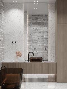 Master bathroom #masterbathroom #modernbathroom #minimalisticbathroom #ideasforbathroom #minimalism #minimalisticarchitecture #minimalisticinterior #architecture #modernarchitecture #design #minimalisticdesign #bathroom Minimalist Interior, Minimalist Design, Modern Bathroom, Master Bathroom, Marble Texture, Design Firms, Warm Colors, Cabinet Doors, Modern Architecture