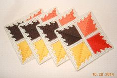 Fall Leaf Coasters in Plastic canvas by SpyderCrafts on Etsy