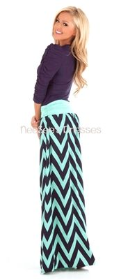 Navy and Mint Chevron Maxi Skirt | Trendy Modest Clothing | Chevron Maxi Skirt