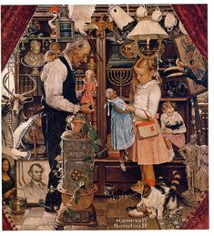 1948 ... April Fool - Girl With Shopkeeper - Norman Rockwell  copyright- estate of Norman Rockwell