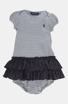 Ralph Lauren Stripe Dress   Bloomers (Infant) available at Nordstrom Baby  Polo, Baby 0b0ab0a761a