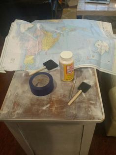 DIY Decoupage World Map Desk diy decoupage world map desk, decoupage, painted furniture Decoupage Desk, Decopage Furniture, Retro Furniture, Cheap Furniture, Painted Furniture, Furniture Websites, Furniture Ideas, Furniture Direct, Business Furniture