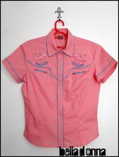 Lojabelladonna: Camisa Western Feminina Flamingos