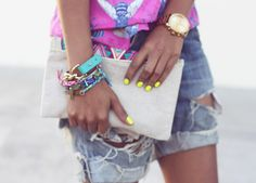 neon yellow nails via Sincerely, Jules Neon Yellow Nails, Neon Nails, Pink Yellow, Ripped Shorts, Neon Shorts, Sincerely Jules, Vogue, Arm Party, Swagg