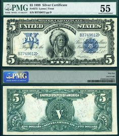 1899 $5 Silver Certificate FR-272 Lyons and Treat PCGS Graded AU55 PPUPLR CAA 9-2013