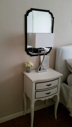 Black and White nighstand table Chalk paint AS