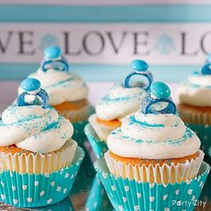 "Everyone will fall in love with ""I do"" cupcakes decorated with engaging edible  rings made from candy. It's a bridal shower ""Do!"""