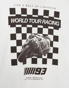 Pull&Bear - man - clothing - t-shirts - moto gp chequered flag print t-shirt (marc márquez collection) - white - 05230527-I2017
