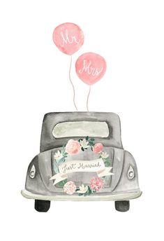 Vintage wedding car - Free Wedding Congratulations Card | Greetings Island Wedding Congratulations Card, Wedding Greetings, Wedding Wishes, Wedding Gifts, Congratulations Greetings, Just Married Auto, Wedding Drawing, Free Wedding, Car Wedding