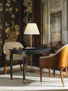the Warren Chairs and Franklin Tric Trac Game Table by Alexa Hampton for Hickory Chair.